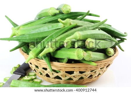 fresh Lady Fingers or Okra in white background - stock photo