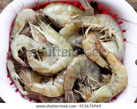 fresh large white shrimps prawns raw uncooked washed and leaving to dry in a plastic basket in a kitchen prepare for cook in various dishes - stock photo