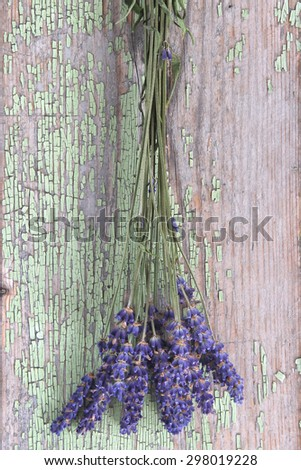 Fresh lavender on wooden ground - stock photo