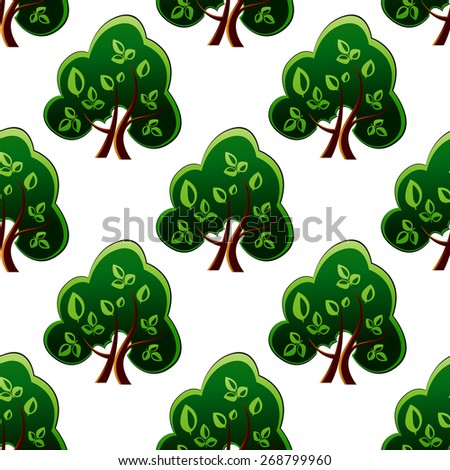 Fresh leafy green spring trees with a repeat motif in a seamless pattern, vector illustration isolated on white - stock photo