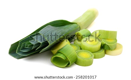 fresh leek and slices isolated on white