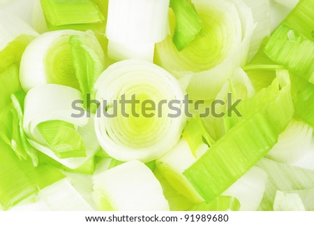 Fresh leek  as  food  background