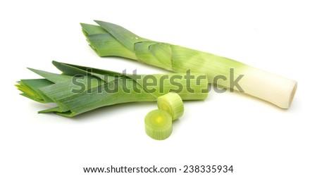 Fresh Leek Full body and slided isolated on white background  - stock photo