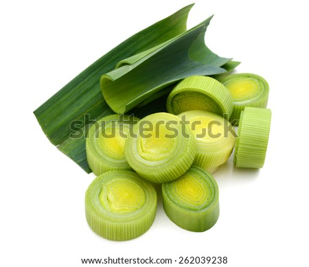fresh leek sliced isolated on white