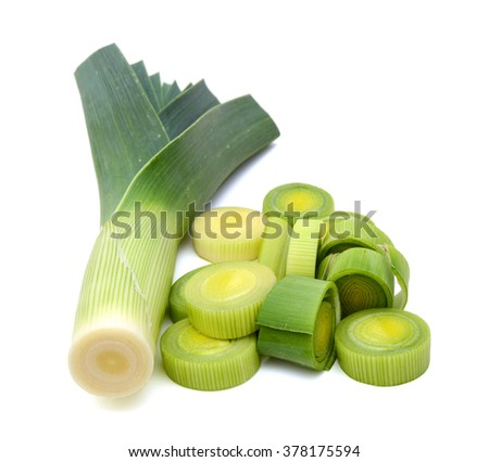 fresh leeks isolated on white
