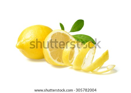 fresh lemon and lemon peel on white - stock photo
