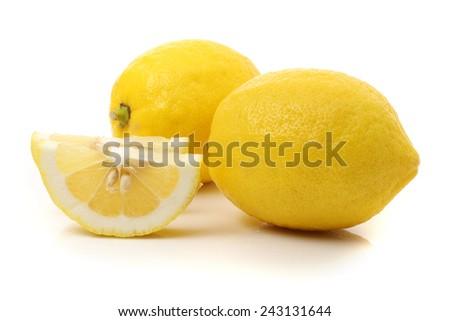 Fresh lemon and lemon slice. Vector illustration. - stock photo