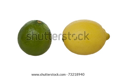 fresh Lemon and Lime isolated against a  pure white background - stock photo