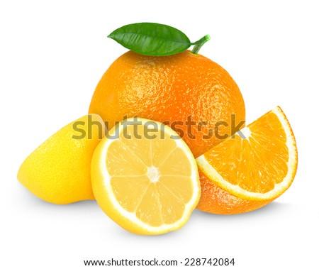 fresh lemon and orange isolated on white - stock photo