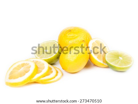 fresh lemon and the lime isolated on a white background
