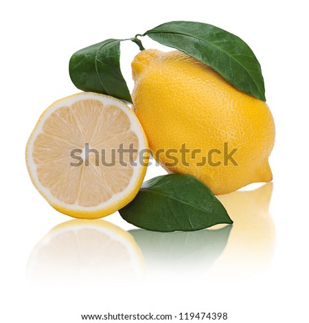 fresh lemon citrus with cut and green leaves isolated on white background