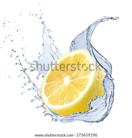 Fresh Lemon Fruit With Water Splash