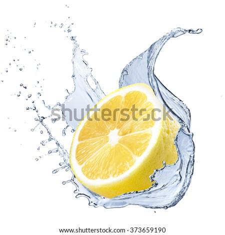Fresh Lemon Fruit With Water Splash - stock photo