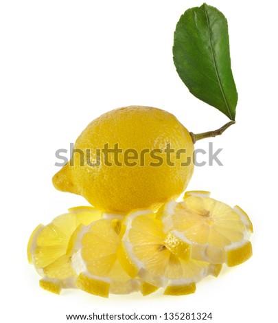 Fresh Lemon isolated on a white background - stock photo