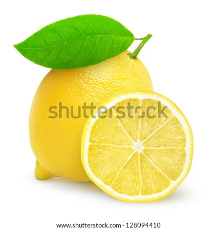 Fresh lemon isolated on white - stock photo