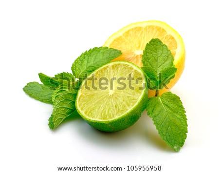 Fresh Lemon, Lime and Mint, isolated on white background - stock photo