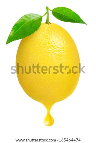 Fresh lemon with a drop of juice isolated on white - stock photo