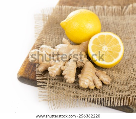 Fresh lemon with ginger - stock photo