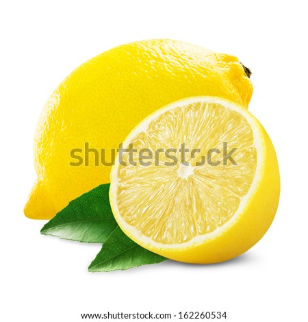 Fresh lemon with half and leaves isolated on white - stock photo