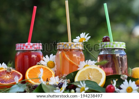 Fresh lemonade from berries and fruits.