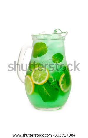 fresh lemonade from lemon and mint leaves - stock photo