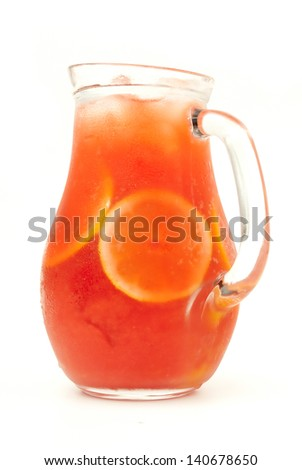 fresh lemonade from orange and berries - stock photo