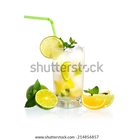 Fresh lemonade with mint leaves and ice in glass on white background