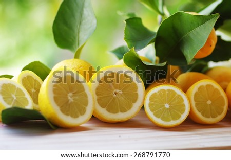 Fresh lemons on table
