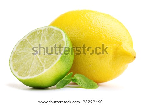 Fresh lime and lemon with mint isolated on white - stock photo