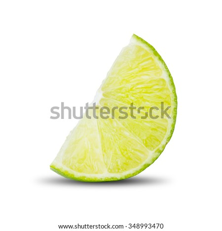 Fresh Lime Cut Into Piece On White Background