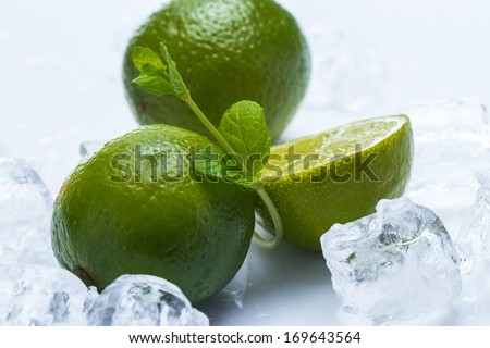 Fresh lime fruit, mint and ice