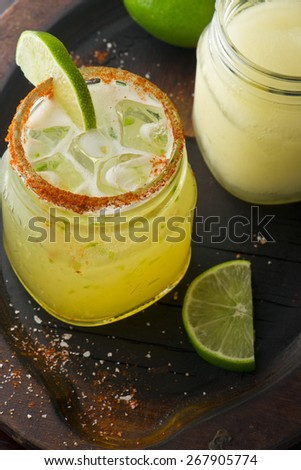 Fresh Lime Margarita On the Rocks & Frozen - stock photo