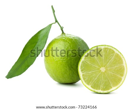 Fresh lime with green leaf. Isolated on white - stock photo