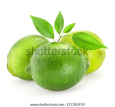 Fresh lime with leaves, Isolated on white background