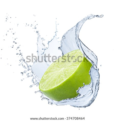 Fresh Lime With Water Splash - stock photo