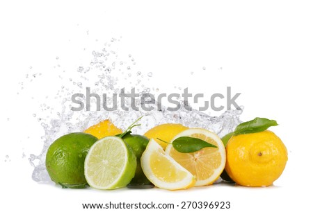 Fresh limes and lemons with water splashes isolated on white background