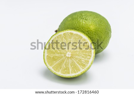 Fresh limes in white background - stock photo