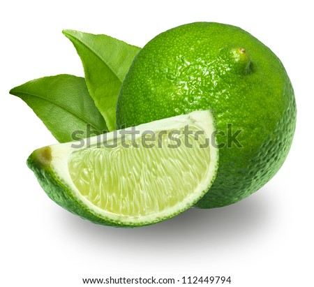 Fresh limes Isolated on white - stock photo