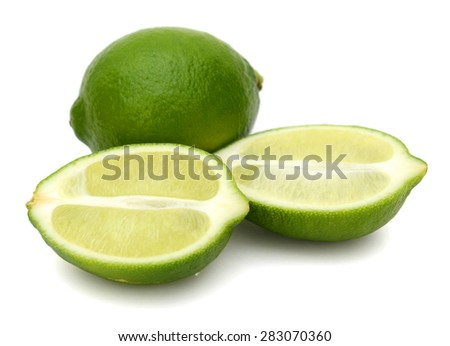 fresh limes on white background