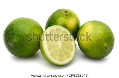 fresh limes on white background  - stock photo