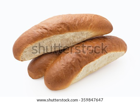 Fresh loaf bread on white background