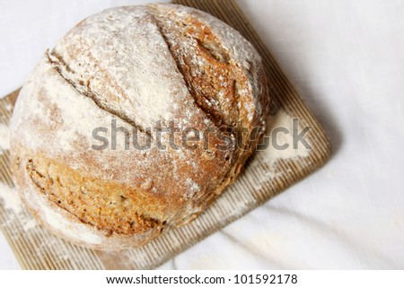 Fresh loaf of bread on cutting board with white cloth background. - stock photo