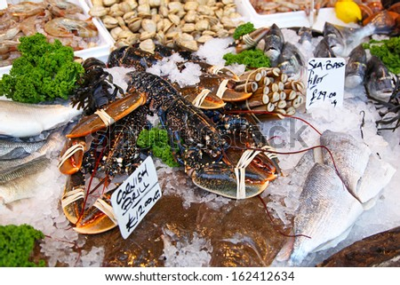 Fresh lobsters at fish market in London