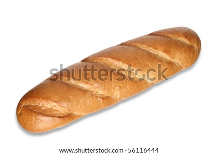 Fresh long loaf isolated on white background with clipping path - stock photo