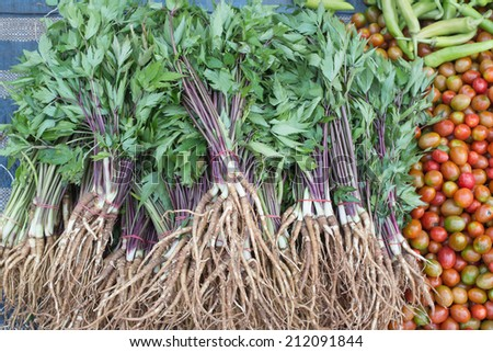fresh lovage and vegetables for sale on the marketplace - stock photo