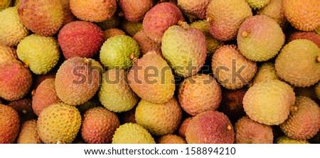 Fresh lychee. Exotic fruits background. - stock photo