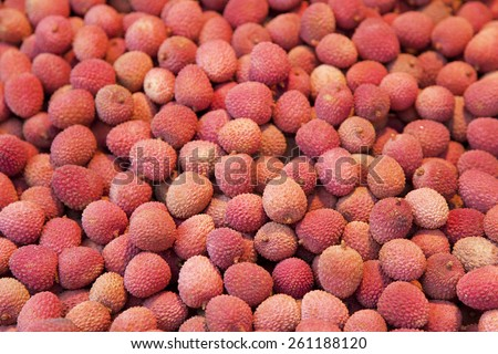 Fresh lychees fruit (Litchi chinensis) - stock photo