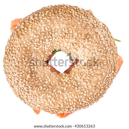 Fresh made Bagel with Salmon (selective focus; detailed close-up shot)