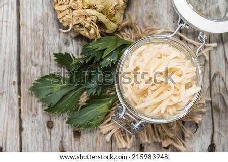 Fresh made Celeriac Salad in a bowl (close-up shot) - stock photo