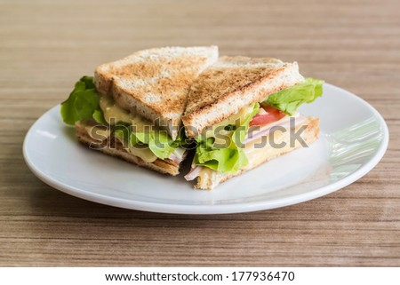 Fresh made clubsandwich - stock photo
